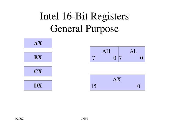 Intel 16 bit registers general purpose