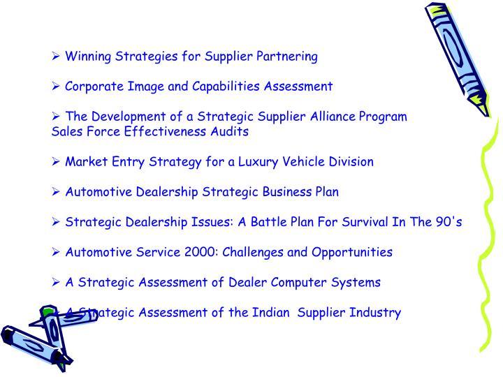 Winning Strategies for Supplier Partnering