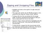 zipping and unzipping files