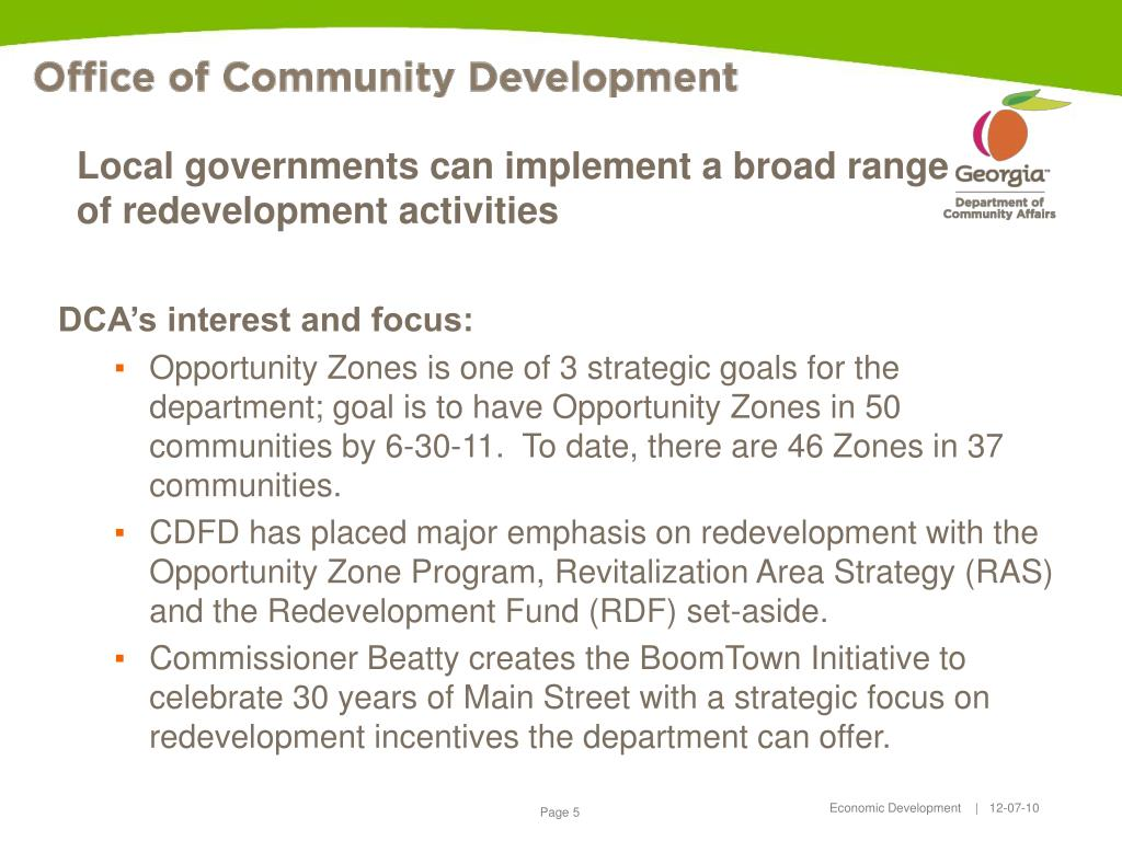 Local governments can implement a broad range of redevelopment activities