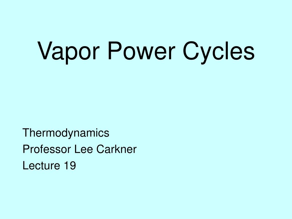 Vapor Power Cycles