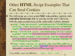 other html srcipt examples that can steal cookies