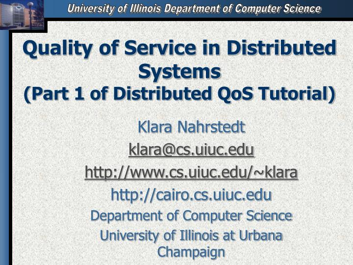 quality of service in distributed systems part 1 of distributed qos tutorial n.