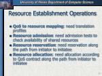 resource establishment operations