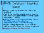 defences black box testing