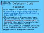 defences code inspection