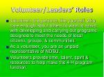 volunteer leaders roles