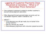 lapping of customer payments once received at cemetery what is it remember ponzi schemes