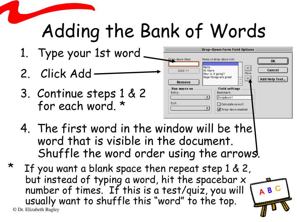 Adding the Bank of Words