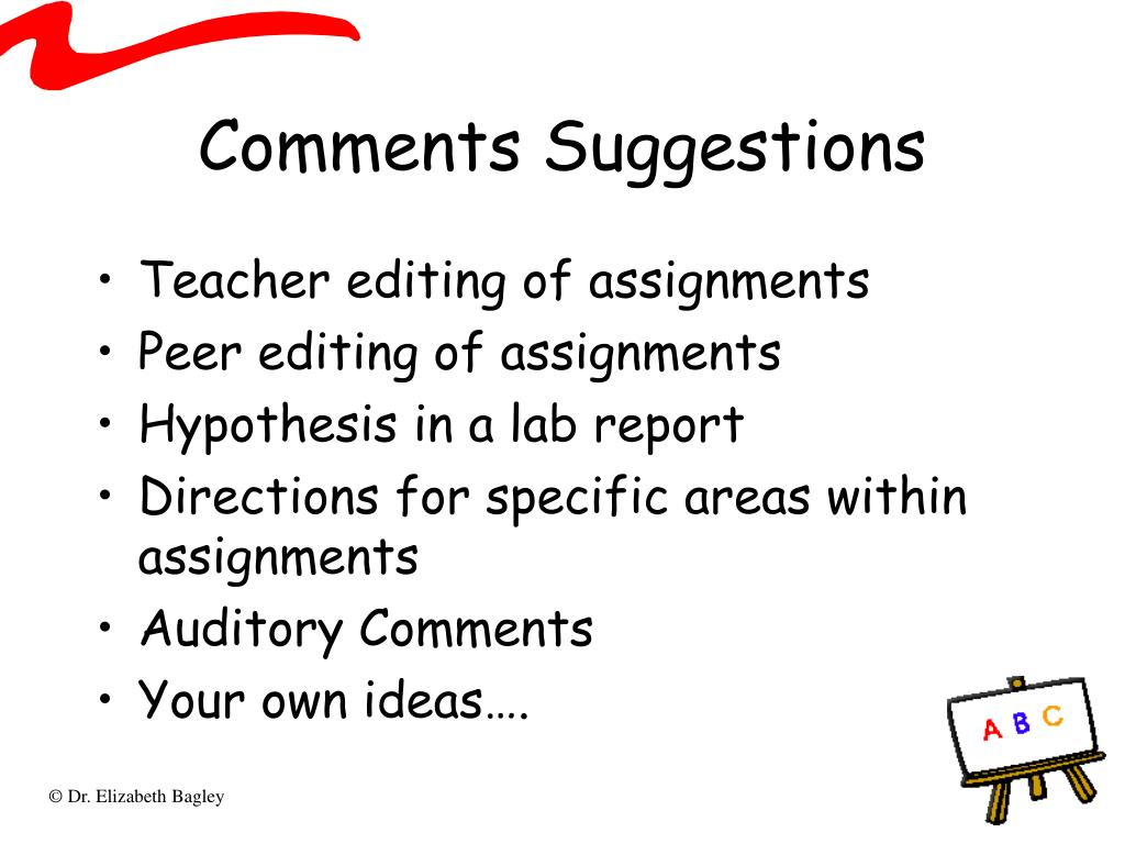 Comments Suggestions