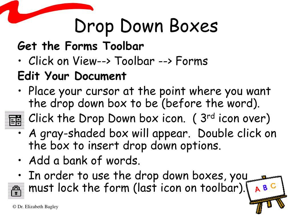 Drop Down Boxes