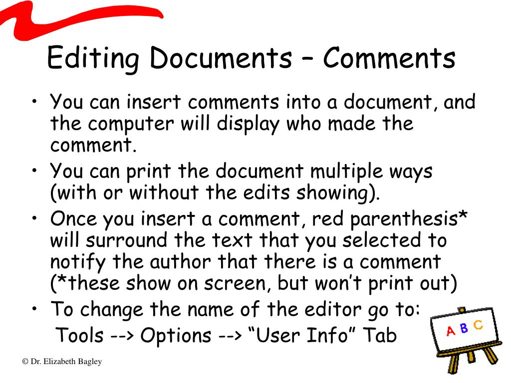 Editing Documents – Comments