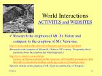 world interactions activites and websites
