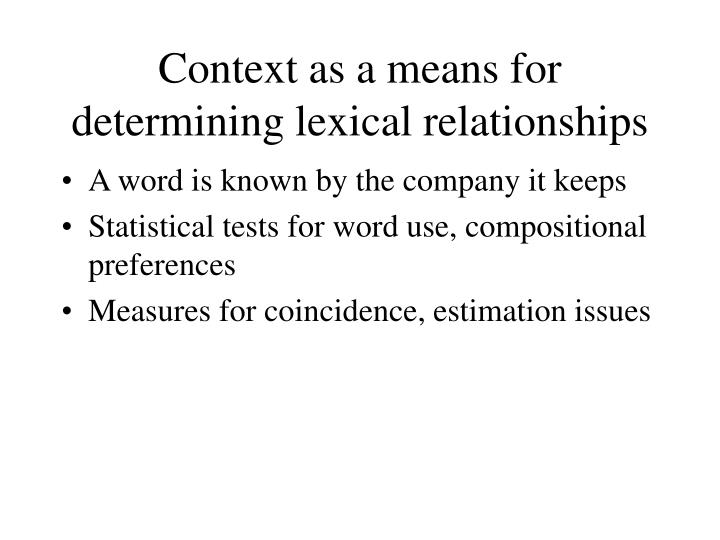 Context as a means for determining lexical relationships