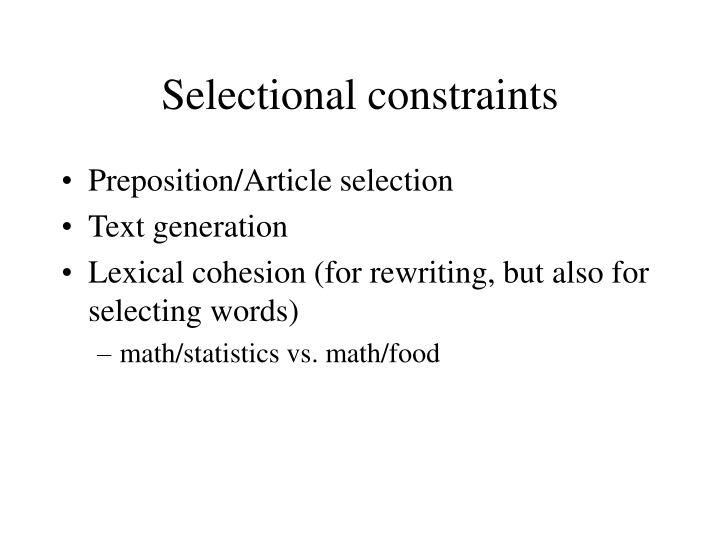 Selectional constraints