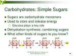 carbohydrates simple sugars
