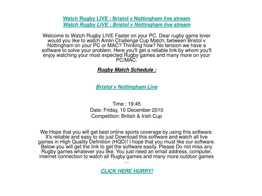 Watch Rugby LIVE : Bristol v Nottingham live stream
