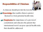 responsibilities of clinicians