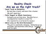 reality check are we on the right track