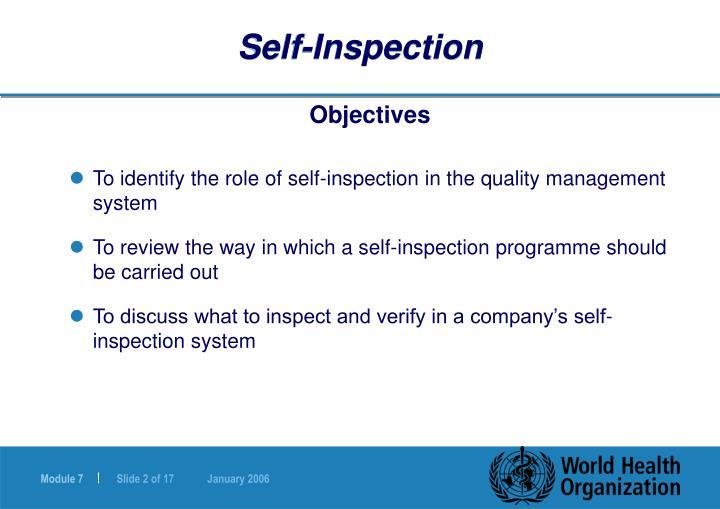 Self inspection
