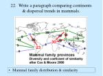 22 write a paragraph comparing continents dispersal trends in mammals