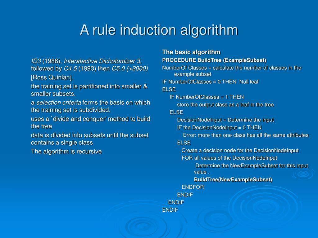 a rule induction algorithm l.