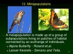12 metapopulations