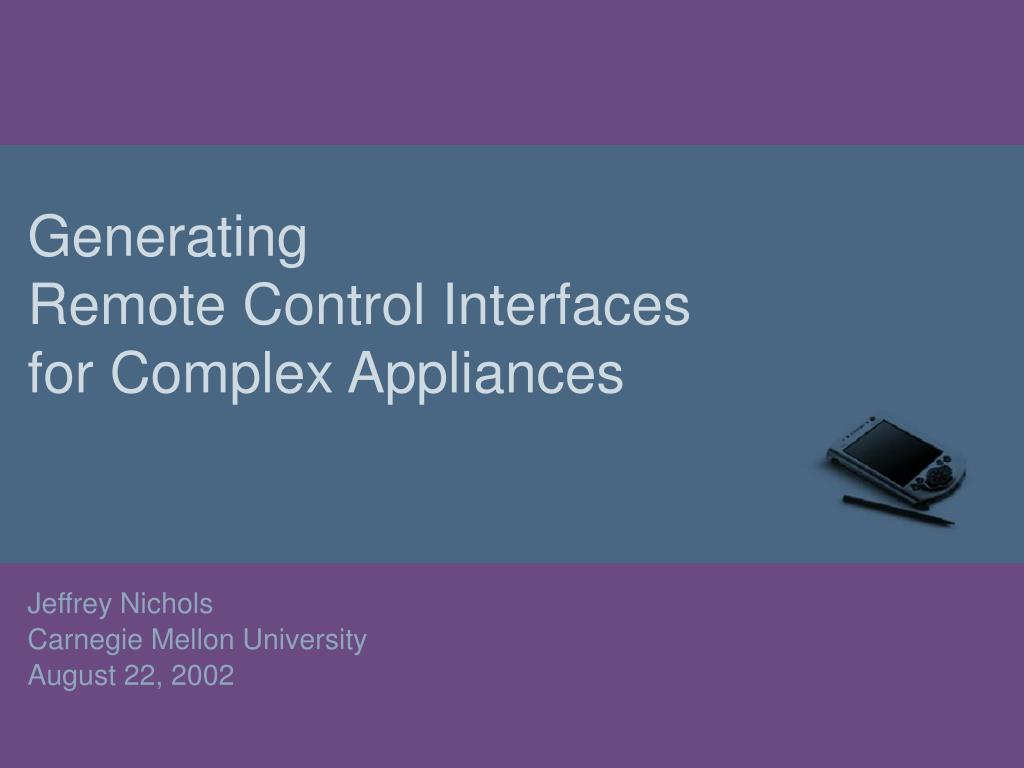 generating remote control interfaces for complex appliances l.