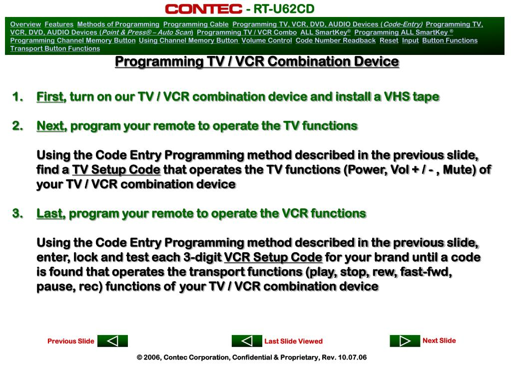 Programming TV / VCR Combination Device