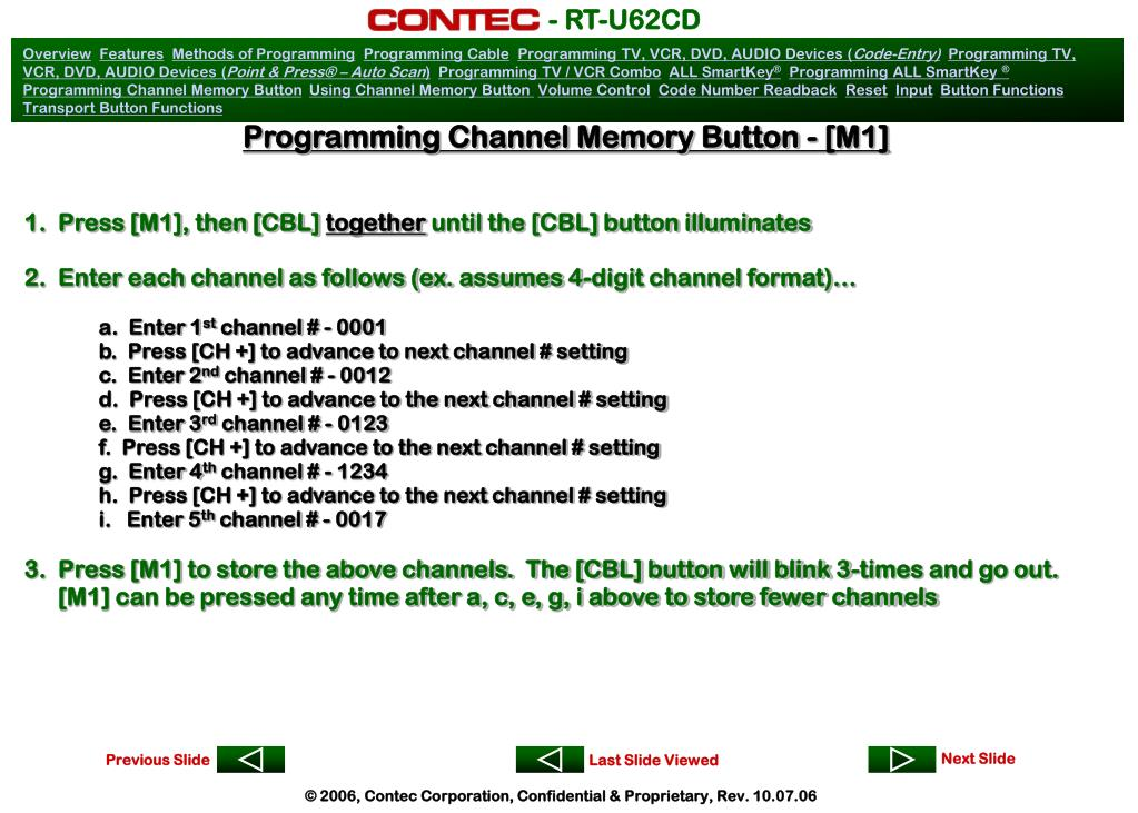 Programming Channel Memory Button - [M1]