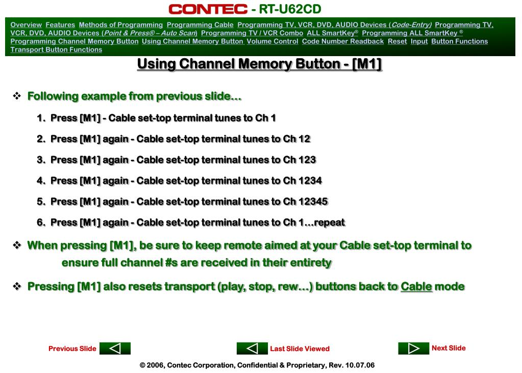 Using Channel Memory Button - [M1]