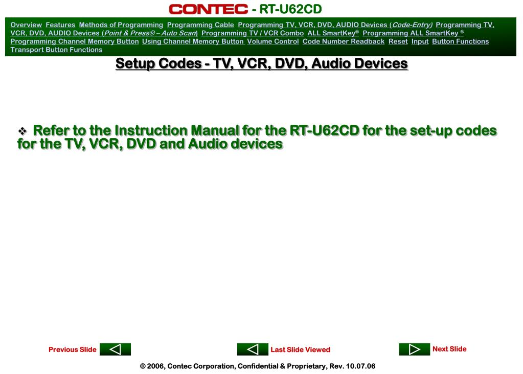 Setup Codes - TV, VCR, DVD, Audio Devices