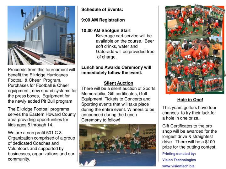 Proceeds from this tournament will benefit the Elkridge Hurricanes Football & Cheer  Program, Purcha...