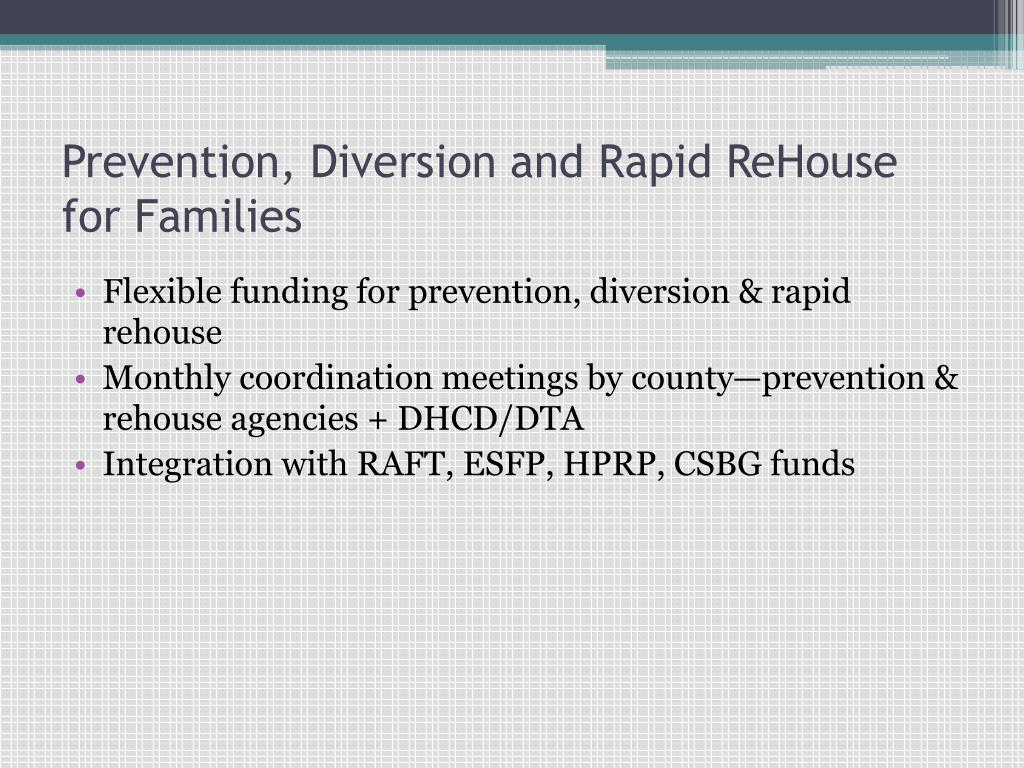 Prevention, Diversion and Rapid ReHouse for Families