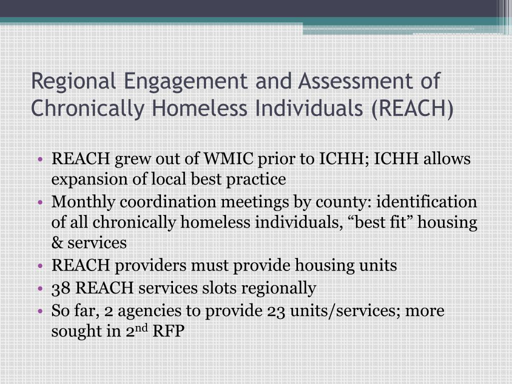 Regional Engagement and Assessment of Chronically Homeless Individuals (REACH)