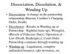 dissociation dissolution winding up