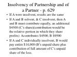insolvency of partnership and of a partner p 629