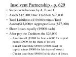 insolvent partnership p 629