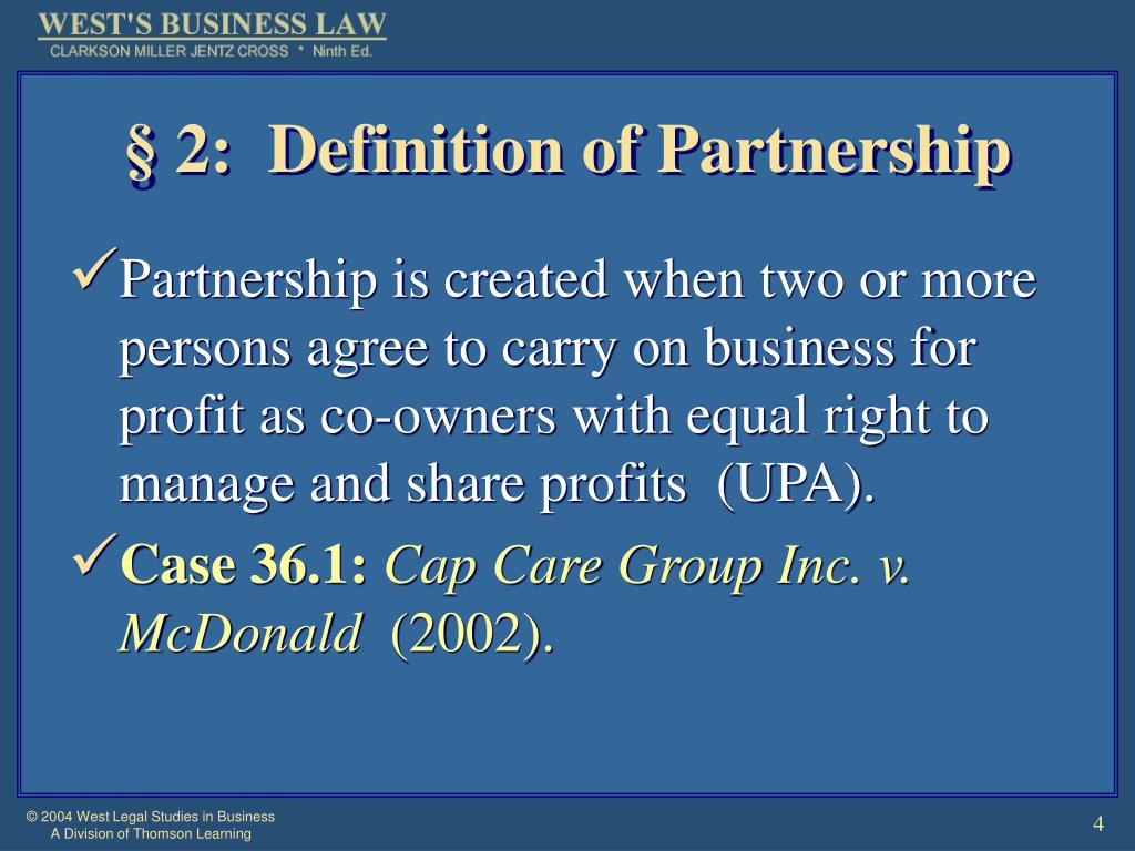 § 2:  Definition of Partnership