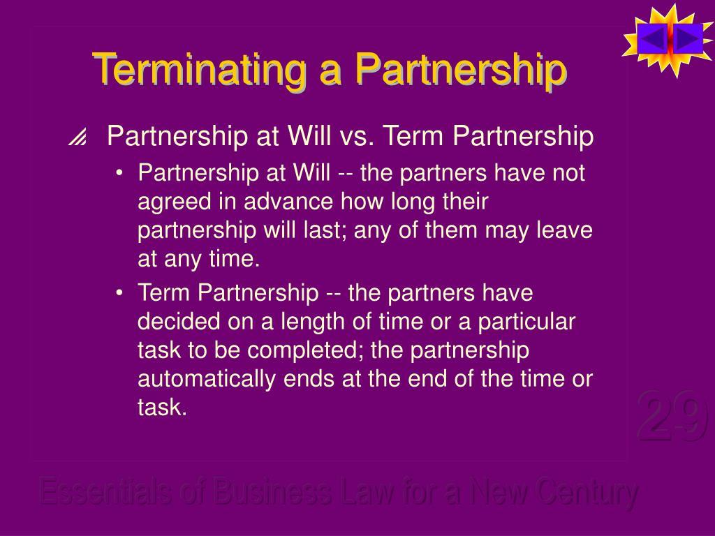 Terminating a Partnership