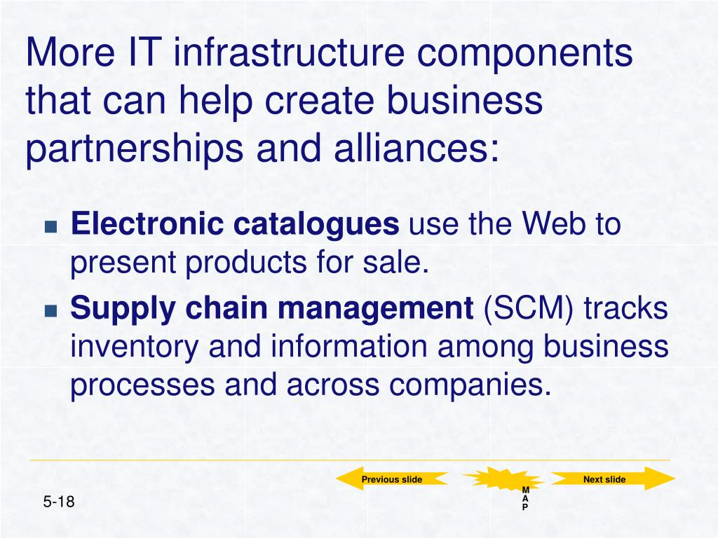 More IT infrastructure components that can help create business partnerships and alliances: