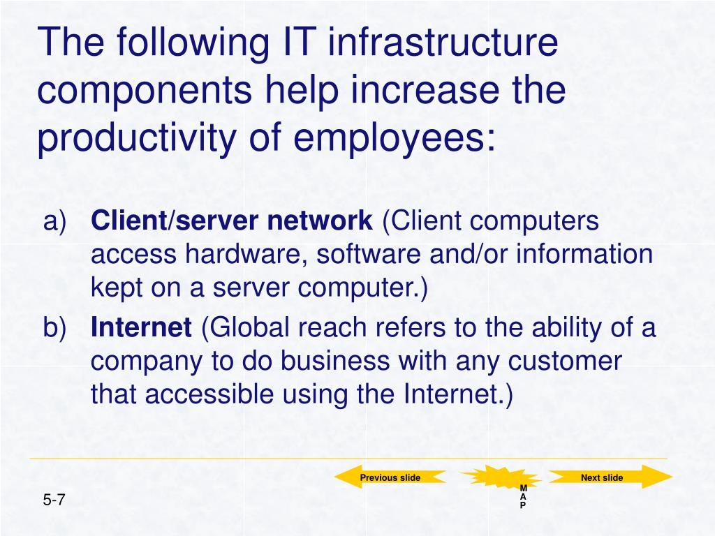The following IT infrastructure components help increase the productivity of employees: