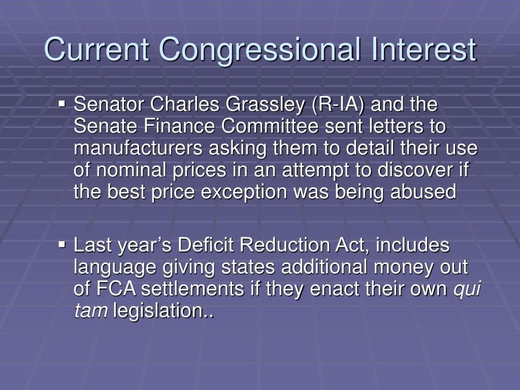 Current Congressional Interest