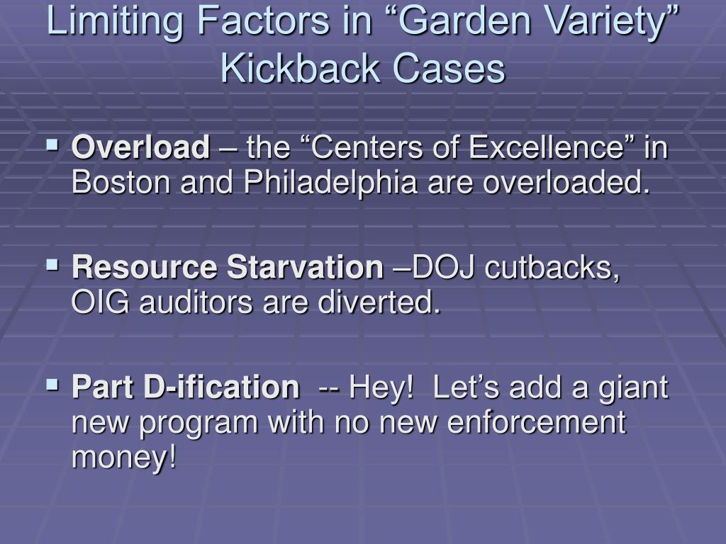 """Limiting Factors in """"Garden Variety"""" Kickback Cases"""