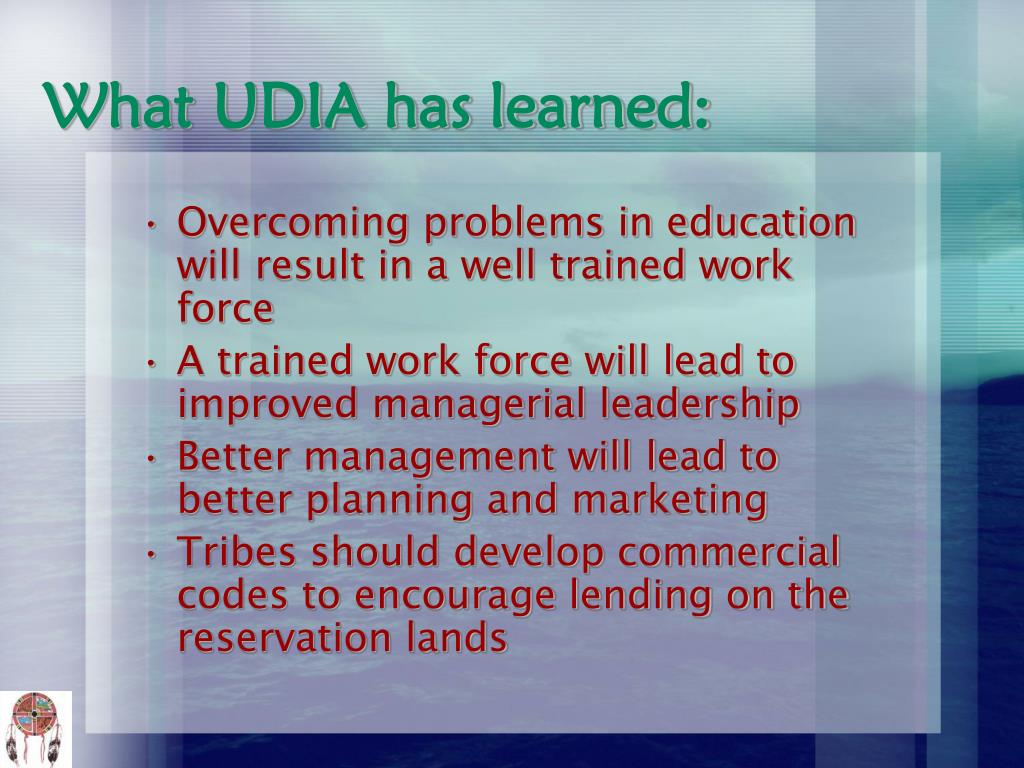 What UDIA has learned: