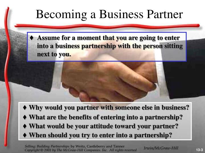 Becoming a business partner