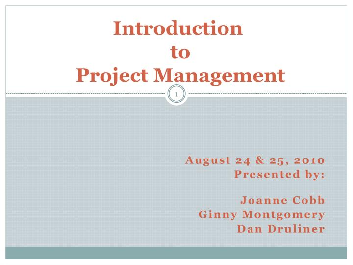 introduction to project management n.