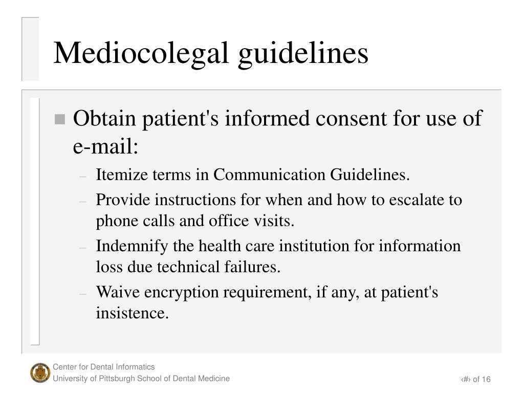 Mediocolegal guidelines
