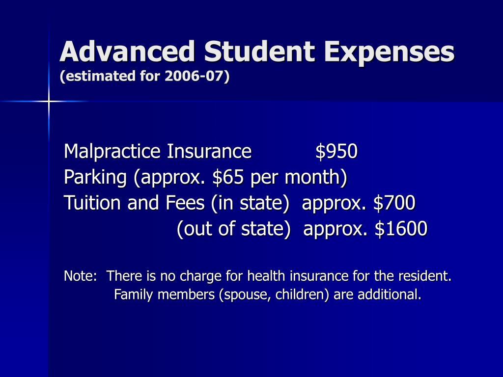 Advanced Student Expenses