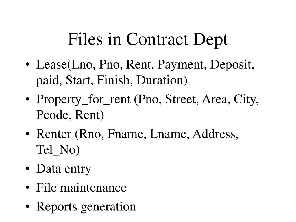 Files in Contract Dept